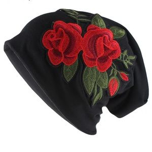 Embroidered Rose Black Beanie
